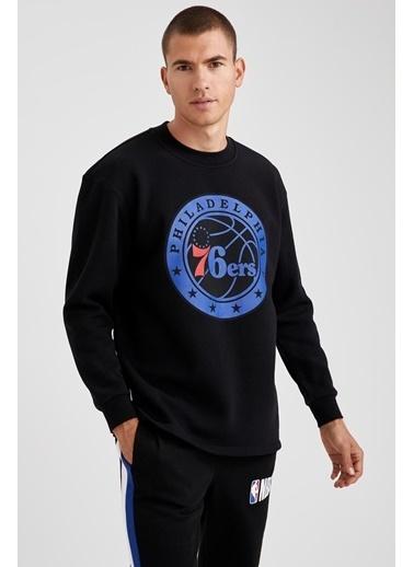 DeFacto NBA Lisanslı Bisiklet Yaka Oversize Fit Sweatshirt Siyah